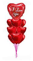 Набор фольгированных воздушных шаров Сердце I love you (сердце с надписью 80см+сердеце фольгированные 9шт)
