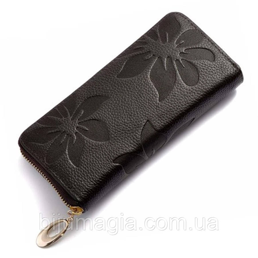 Кошелек женский кожаный черный 11356-б
