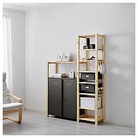 IKEA IVAR 2 секции / полки / шкаф, сосна, серый  (291.836.93)