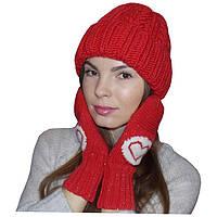 Женская вязаная шапка, объемной ручной вязки и вязаные варежки