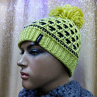 3D TM Loman, молодежная женская шапка с бубоном, полушерстяная, цвет желтый с черным, фото 1