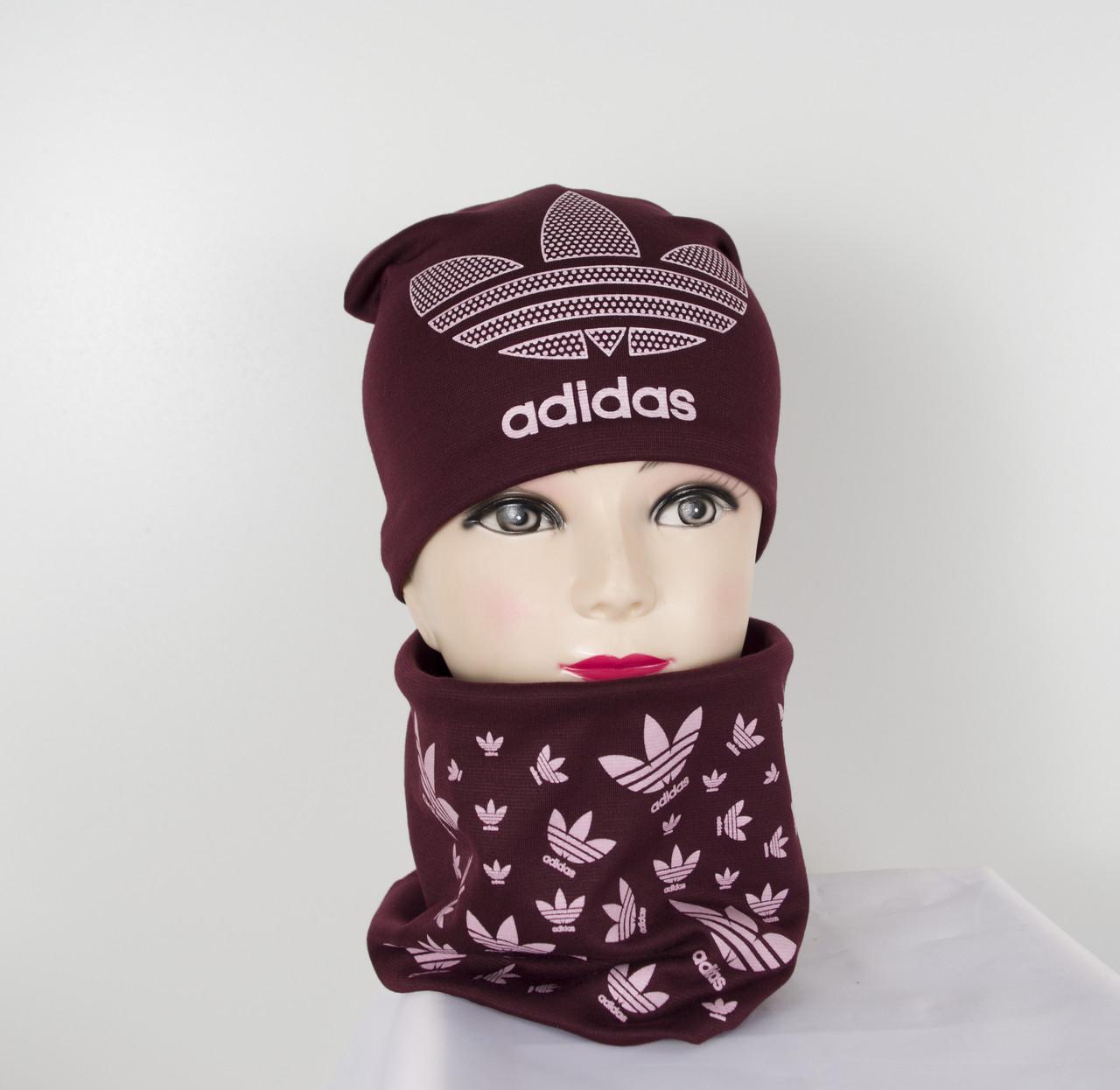 Трикотажный комплект Adidas (шапка+хомут)