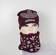 Трикотажный комплект Adidas (шапка+хомут), фото 1