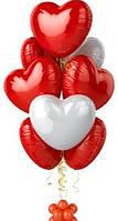 Набор фольгированных воздушных шаров Сердце красно белое 9 шт