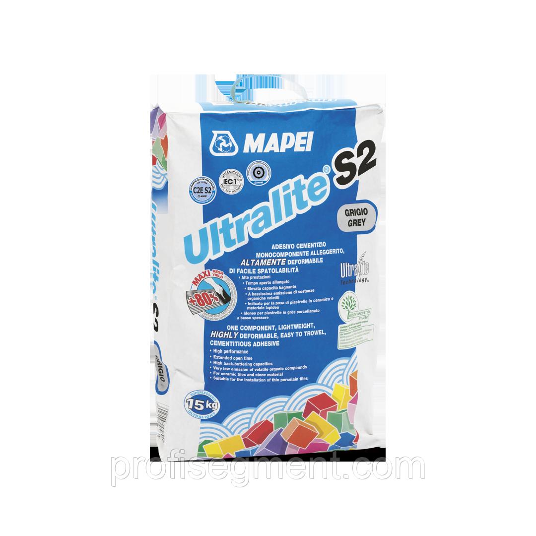 Высокоэласт. полегшений клей для плитки із збільшеним робочим часом Mapei Ultralite S2 Grey/серый15.Харько