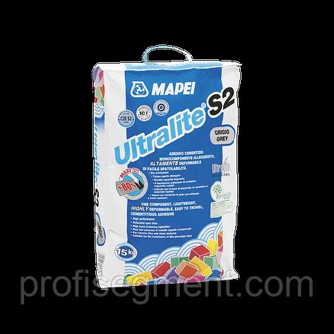 Высокоэласт. полегшений клей для плитки із збільшеним робочим часом Mapei Ultralite S2 Grey/серый15.Харько, фото 2