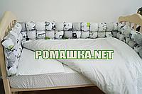 Комплект детского постельного белья (детская постель в кроватку) Горох наволочка простынь пододеяльник 3990
