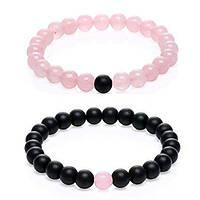 Браслеты для влюбленных из натурального камня розовый кварц и матовый черный агат