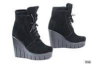 Женские ботинки на платформе замшевые черные 996