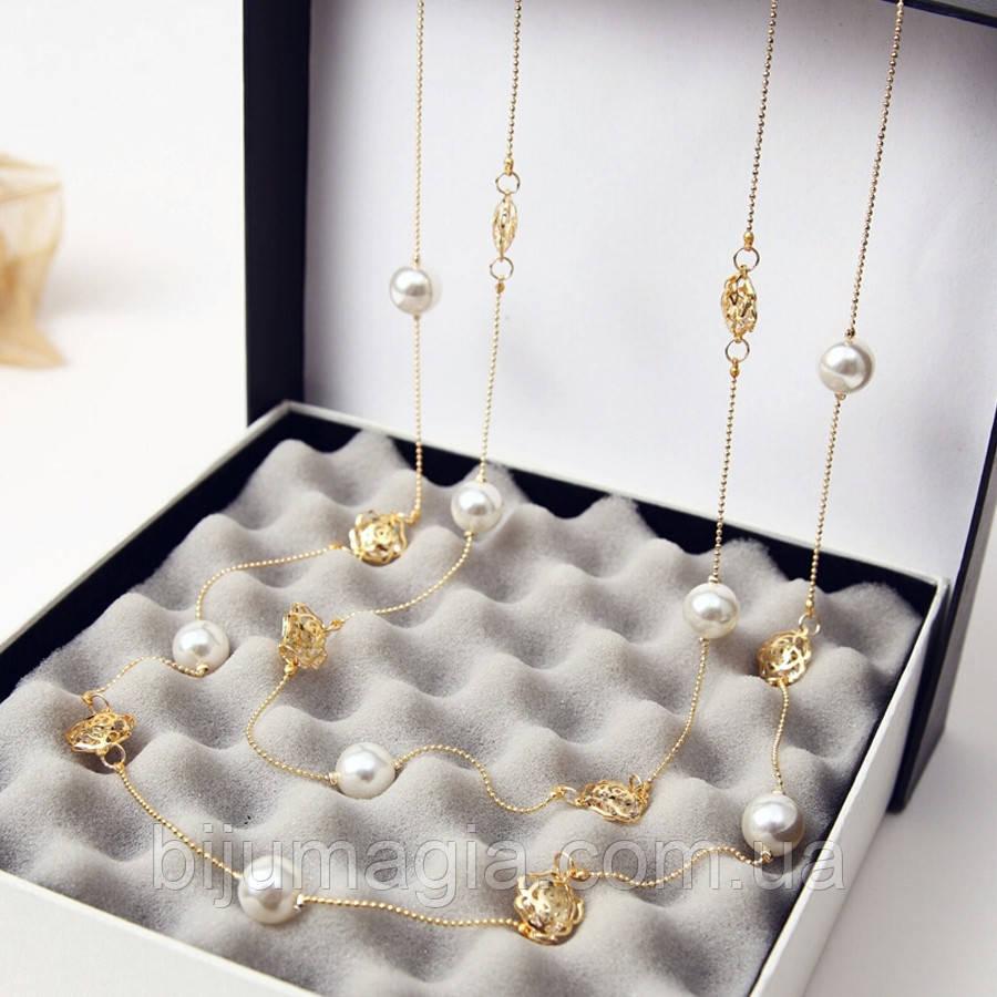 Ожерелье из жемчуга ювелирная бижутерия позолоченное 3545-а