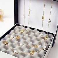 Ожерелье из жемчуга ювелирная бижутерия позолоченное 3545-а, фото 1