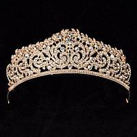Свадебная диадема, корона, тиара на голову для невесты позолоченая 4782с-б