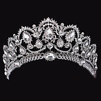 Свадебная диадема, корона, тиара на голову для невесты посеребрение 4791с-а