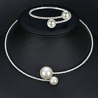 Весільний набір з перлами ювелірна біжутерія сріблення 47104с