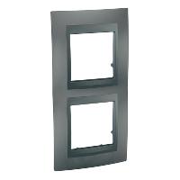 Рамка Schneider-Electric Unica Top 2-поста вертикальная графит MGU6.004V.12