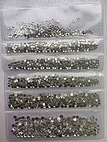 Микс Стразы для дизайна ногтей (стекло) Crystal  SS3,4,5,6,8,10.