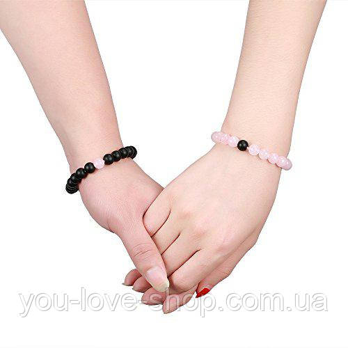 браслеты для влюбленных розовый кварц и агат
