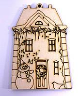 Заготовка деревянная: Дом, колокольчик, пингвин, пряник ассорти 7-12см
