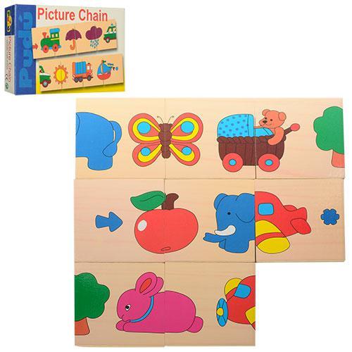 Деревянная игрушка Пазлы BLS 2182  2 вида(животные, трансп) в коробке,
