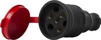 Силовая розетка переносная с защитной крышкой каучуковая e.socket.rubber.031.25, 4п., 25А
