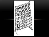 Стелаж для метизних ящиків односторонній 1800мм 96 ящиків,Стеллаж для метизных ящиков односторонний 1800мм