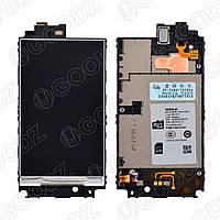 Дисплей Nokia 520 Lumia в сборе со средней частью корпуса, цвет черный