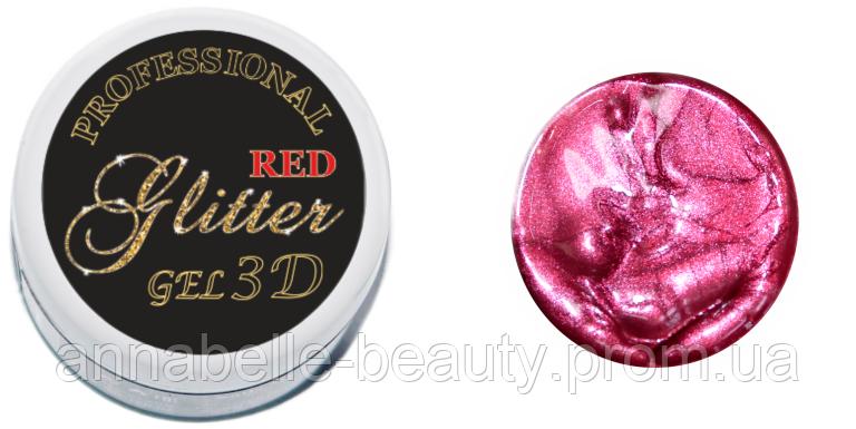 3 D гель паста (glitter red) красный глиттер 5мл