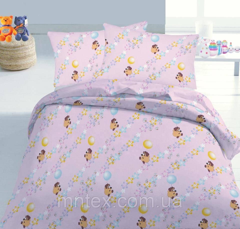 Ткань для пошива постельного белья ранфорс Пакистан  Винни Пух на розовом