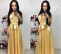 Вечернее платье в пол из атласа с поясом
