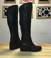 Женские кожаные сапоги на танкетке. Возможен отшив в других цветах кожи и замша