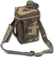 Пластиковая фляга 2л в чехле с плечевым ремнём MilTec Patrol Woodland 14514020