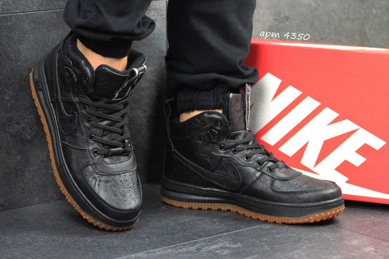Кроссовки мужские кожаные Nike Lunar Force 1,черные(Индонезия)