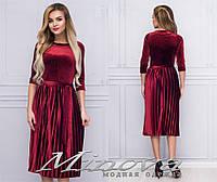 Изящное бархатное платье с юбкой плиссе размеры S-L, фото 1