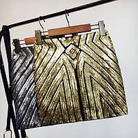 Женская бандажная юбка с пайетками золотистая, фото 1