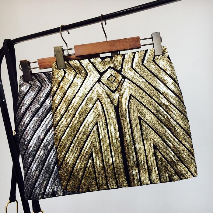 Женская бандажная юбка с пайетками золотистая