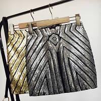 Женская бандажная юбка с пайетками серебристая, фото 1