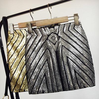 Женская бандажная юбка с пайетками серебристая