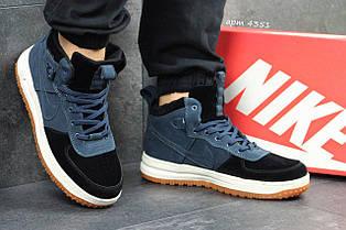 Кросівки чоловічі замшеві Nike Lunar Force 1,сині з чорним (Індонезія) 43р