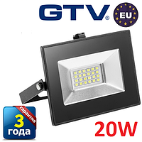 Светодиодный прожектор LED, GTV, 20W, IP65 (для улицы). Гарантия - 3 года!!!
