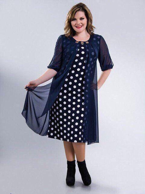 Нарядное платье трикотаж масло в горох с прышивной накидкой из шифона  размер 56 58 60 62 da9636459f7