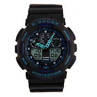 Спортивные наручны часы Casio G-Shock ga-100 Black-Blue Касио реплика, фото 1