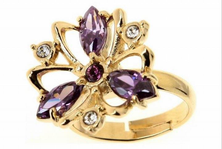 """Кольцо """"Лавель"""" с фианитом, покрытое золотом безразмерное   (j154p0a5)"""