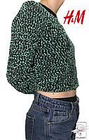 Женский реглан зеленый в черную точку H&M джемпер р. М 46-48