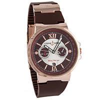 Наручные часы Ulysse Nardin Maxi Marine Chronograph Gold Brown улис нардин Копия