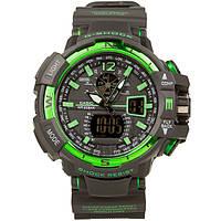 Спортивные наручные часы Casio G-Shock GWA-1100 Black-Geen Касио реплика
