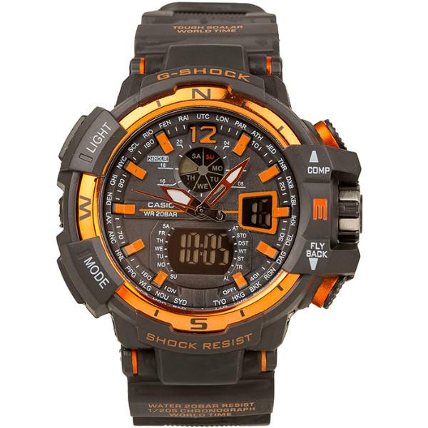 Спортивные наручные часы Casio G-Shock GWA-1100 Black-Orange Касио реплика