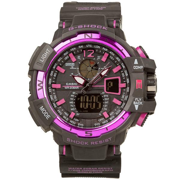 Спортивные наручные часы Casio G-Shock GWA-1100 Black-Purple Касио реплика