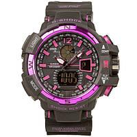 Спортивные наручные часы Casio G-Shock GWA-1100 Black-Purple Касио реплика, фото 1