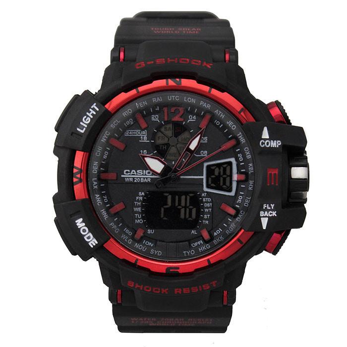 Спортивные наручные часы Casio G-Shock GWA-1100 Black-Red Касио реплика