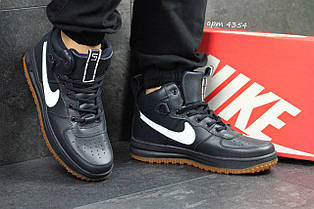 Високі шкіряні кросівки Nike Lunar Force 1, сині з білим (Індонезія)